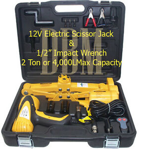 2-Ton-Electric-Scissor-Car-Jack-1-2-034-Impact-Wrench-12V