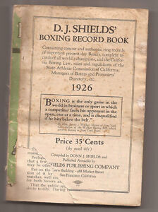 1926 BOXING RECORD BOOK D.J. SHIELDS