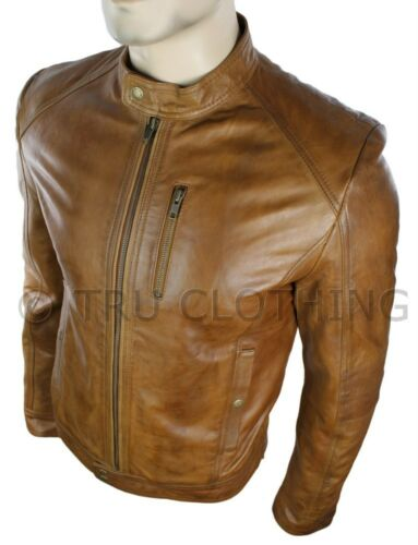 Mens Fitted Retro Style Short Zipped Biker Leather Jacket Tan Brown Casual
