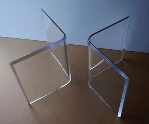 """Acrylic """"V's"""" or Boomerang COFFEE Cocktail TABLE BASES (2) Lucite Contemporary"""