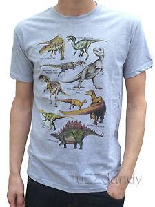 MENS-Dinosaur-tee-t-shirt-retro-vtg-indie-Grey-tshirt-NEW-S-m-L-XL-60s-70s-80s
