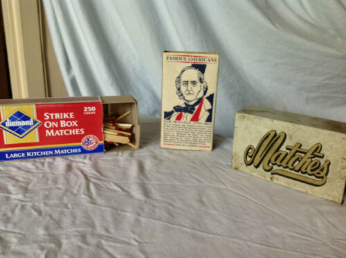 2 Vintage Safety Match Boxes + 1 Metal Match Box Holder