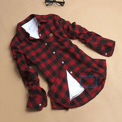 Button Down Plaids & Checks Flannel Casual Lapel Shirt Women Shirts Tops Blouse