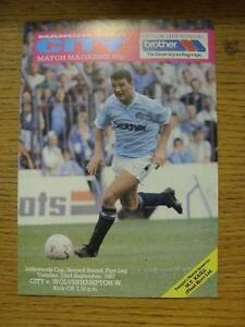 22091987 Manchester City v Wolverhampton Wanderers Football League Cup Team - Birmingham, United Kingdom - 22091987 Manchester City v Wolverhampton Wanderers Football League Cup Team - Birmingham, United Kingdom