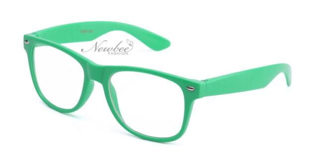 Green Teal Wayfarer Style Clear Lens Glasses Retro 80's Vintage Nerdy Hipster