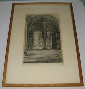 R-F-LOGAN-LISTED-VEZELAY-ABBEY-CATHEDRAL-FRANCE-ETCHING