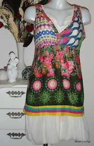 Desigual-BLOUSE-SHIRT-yerry-L-40-FLOWER-Color-new-with-tag