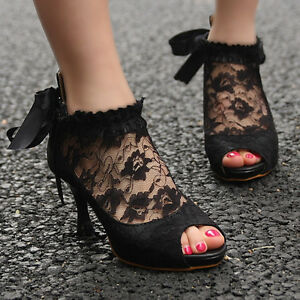 New-Ladies-Wedding-Lace-Bowknot-Ankle-Heels-Pumps-Shoes-62