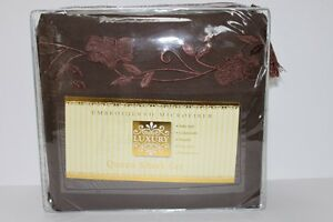 LUXURY EMBROIDERED MICROFIBER QUEEN SHEET SET-BROWN 4PC