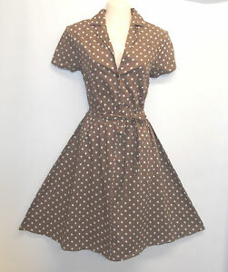 New-Brown-Polka-Dot-WWII-1940-s-Vintage-style-classic-Shirt-Swing-Tea-Dress