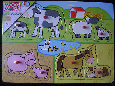 NEW CHILDRENS PULL OUT PEG JIGSAW PUZZLE FARM ANIMALS