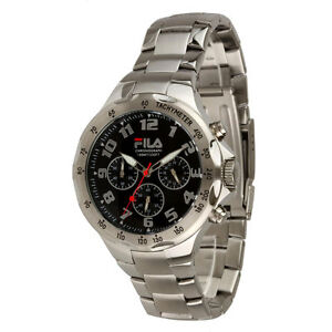 Fila-FA0795-31-Men-039-s-Stainless-Steel-Chronograph-Watch-with-Black-Dial