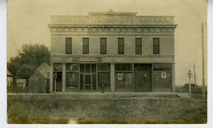 1905 RPPC Postcard showing IOOF Building & Store in Hunter North Dakota