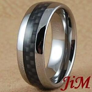 Mens Tungsten Ring Wedding Band Black Carbon Fiber Inlay Jewelry Size 6 15