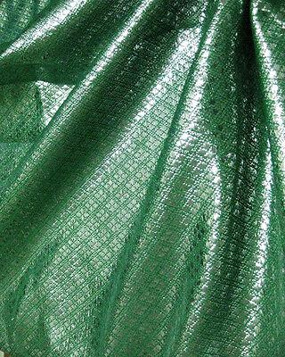 GREEN & SILVER METALLIC DIAMOND BROCADE FABRIC GR8 DRESS CRAFT WAISTCOAT SKIRT