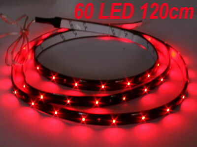 Rot 120cm 60 SMD LED flexibel Strip Streifen kfz-Auto Licht 12V DC Neu