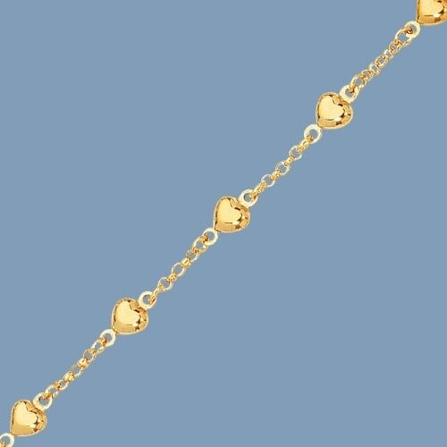 Puffed Heart Rolo  Bracelet Real Solid 14K Yellow gold