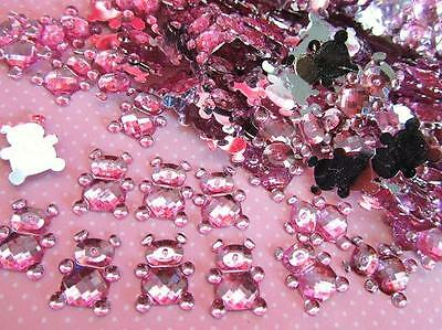 110 Baby Bear Rhinestone Acrylic Jewel Craft/girl shower/decoration/bow E30-Pink