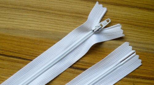 """n ° 3 poids zips 25cm autolock fermé fin Nylon x 10 zips 10 /"""" Noir ou Blanc"""