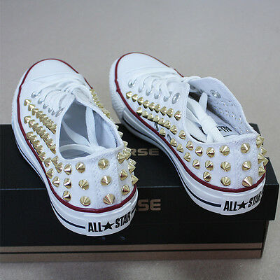 Genuine CONVERSE All-star row-top with studs Sneakers Sheos White(Gold)