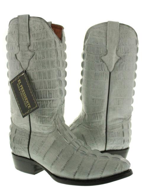 Mens gray full crocodile alligator tail cut western cowboy round toe boots