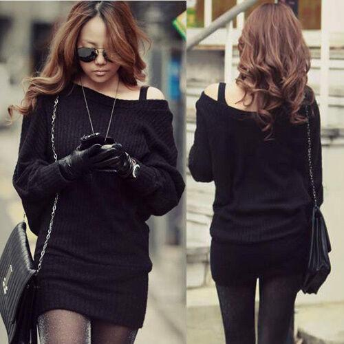 Sexy Korean Womens Batty sleeve Solid Black Mini Sweater Dress Tops Boat Neck