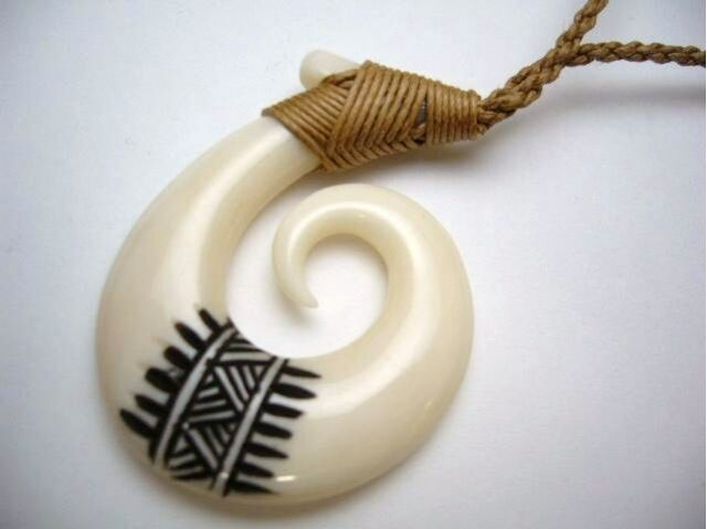 Hawaiian Hawaii Jewelry Fish Hook Bone Carved Pendant Necklace/Choker # 35064-3