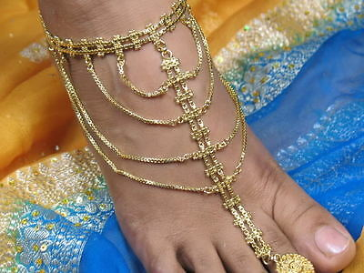 Bollywood Belly Dance Gypsy Costume Jewelry Jewellery Gold Plated Anklet