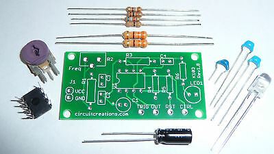 Configurable Oscillator/Timer Kit w/ PCB and LED- Based on 555