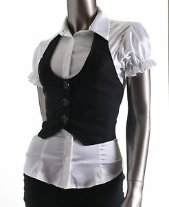 New-Women-Junior-Classic-Halter-Vest-Waistcoat-Black-S-M-L