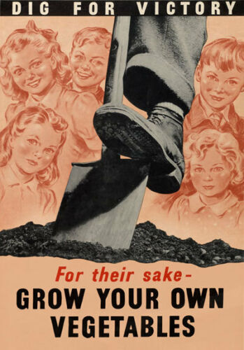 2W89 Vintage WWII Dig For Victory Grow Your Own Vegetables War WW2 Poster A4