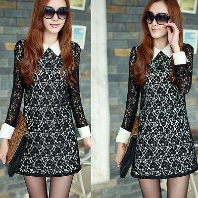 Women Long Shirt Sleeve Square Collar Ports Lace Mini Dress Black Cocktail Dress