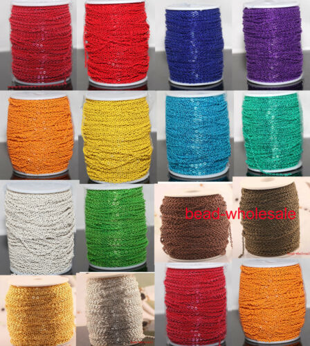 5m/100m Various Colors Cable Open Link Iron Metal Chain Jewelry Findings