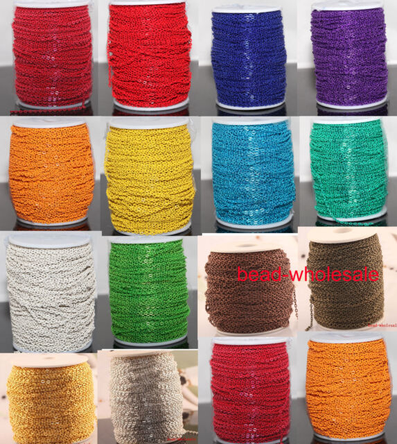 Wholesale 100m Iron Metal Cable Open Link Chain Findings Lots Many Colors
