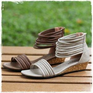 BN-Ankle-Strap-Low-Wedge-Platform-Stappy-Tribal-Boho-Gladiator-Sandals-BR-Beige