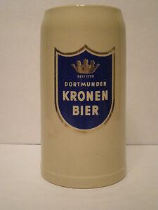 VINTAGE-DORTMUNDER-KRONEN-BIER-GERMAN-STEIN-1L-MARZI-amp-REMY-GERMANY