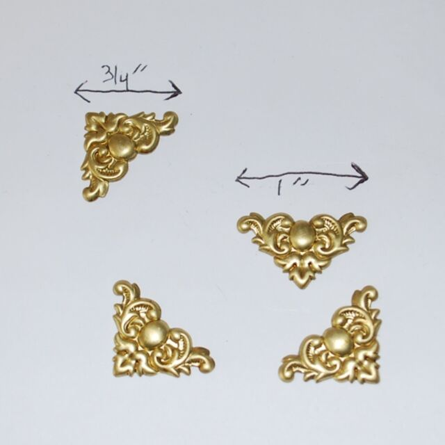 (12 pack) Solid BRASS Filigree CORNER Stampings for Box Lift or soldered accent.