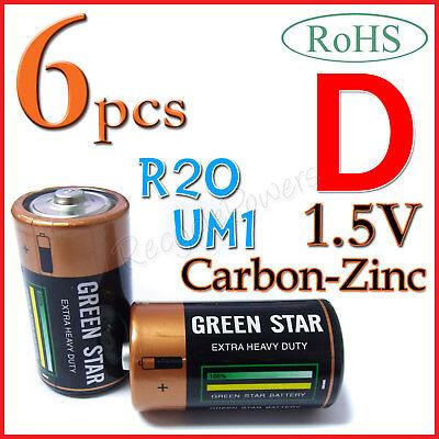 6 Size D R20 UM1 Heavy Duty 1.5V Carbon Zinc battery