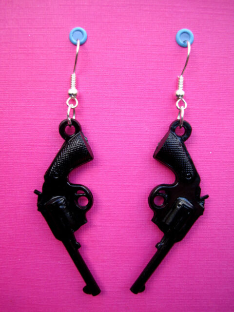FUNKY BLACK GUMBALL PISTOL EARRINGS REVOLVER GUN GANGSTER COWBOY FUN FANCY DRESS