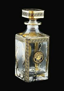 whisky karaffe 750 ml bohemia bleikristall handbemalt golden schwarz dekor neu ebay. Black Bedroom Furniture Sets. Home Design Ideas