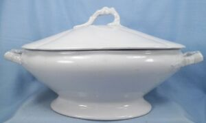 Large-Antique-Ironstone-Covered-Vegetable-Soup-Tureen-Burgess-Goddard-NICE