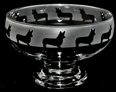 *DOG GIFT* CORGI Boxed FOOTED CLEAR GLASS BOWL with frosted frieze design