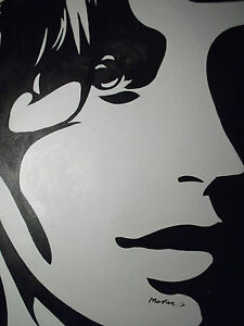 Abstract black white minimal face large oil painting canvas pop art image is loading abstract black white minimal face large oil painting altavistaventures Choice Image