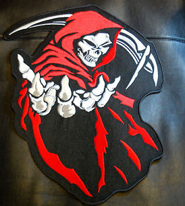 Embroidered Biker Motorcycle Back Jacket Patch Reaper ... REAPER-SKULL-LARGE-Red-14-034-X-12-034-PATCH-for-BIKER-LEATHER-JACKET