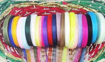 """50Yards 3/8""""(10mm)Sheer Organza Ribbon 22 colours Craft/Wedding/sewing K01"""