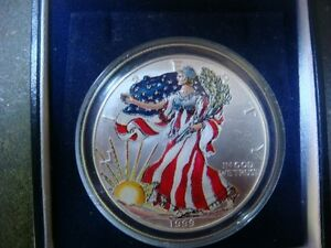 1999 1 Oz Fine Silver Liberty Coin 1 Dollar Colored