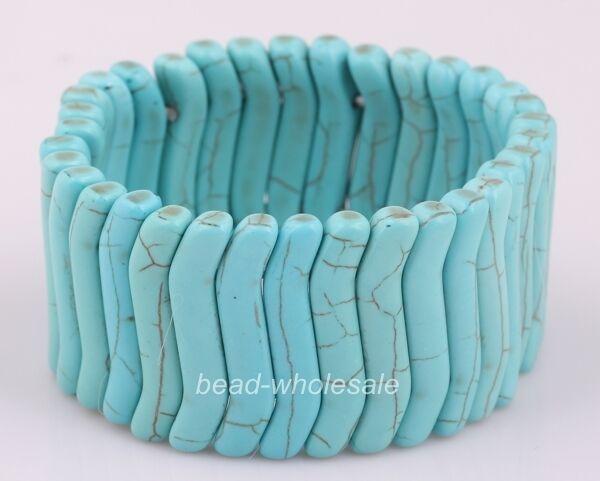 Fashion Style Turquoise Stone Stretchy Bangle Charm Elastic Bracelet