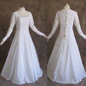 Medieval-Renaissance-Gown-White-Gold-Dress-Costume-LOTR-Wedding-XL-1X