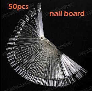 50-False-Nail-Art-Board-Tips-Stick-Polish-Display-Foldable-Practice-Fan-Clear