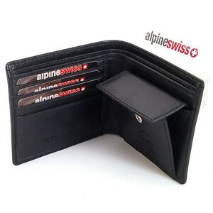 Mens-Leather-Bifold-Wallet-Coin-Pocket-Purse-Pouch-Alpine-Swiss-2-Bill-Sections